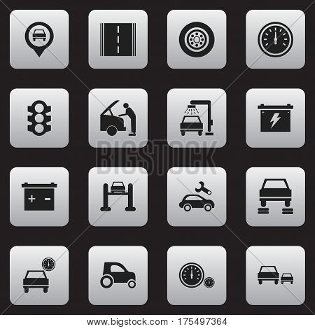 Set Of 16 Editable Traffic Icons. Includes Symbols Such As Highway, Auto Repair, Accumulator And More. Can Be Used For Web, Mobile, UI And Infographic Design.