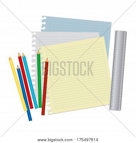 color silhouette with striped notebook sheets in blank with colored pencils and ruler vector illustration