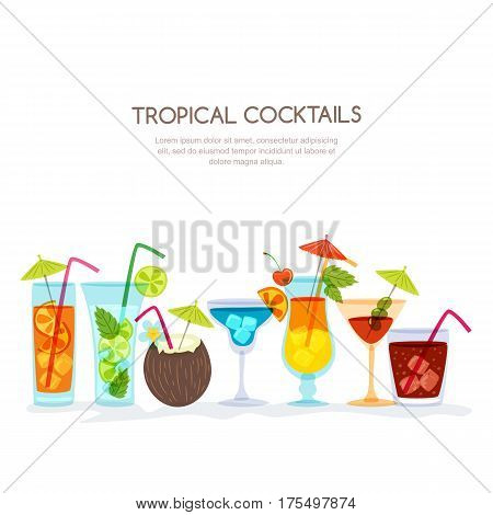 Tropical Cocktails Set, Vector Hand Drawn Illustration. Various Isolated Cocktail Glass With Beverag