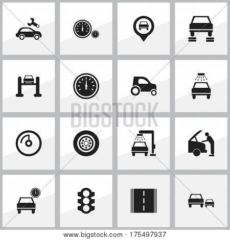 Set Of 16 Editable Traffic Icons. Includes Symbols Such As Car Fixing, Vehicle Wash, Stoplight And More. Can Be Used For Web, Mobile, UI And Infographic Design.