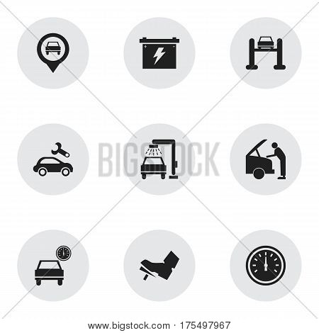 Set Of 9 Editable Transport Icons. Includes Symbols Such As Treadle, Auto Service, Pointer And More. Can Be Used For Web, Mobile, UI And Infographic Design.