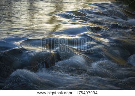 Flowing Glacial Stream - Fresh melted snow and glacial water in Sierra.