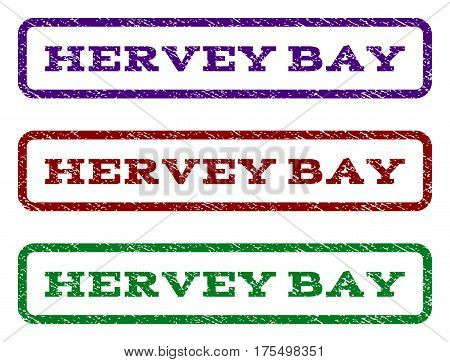Hervey Bay watermark stamp. Text tag inside rounded rectangle with grunge design style. Vector variants are indigo blue, red, green ink colors. Rubber seal stamp with dirty texture.