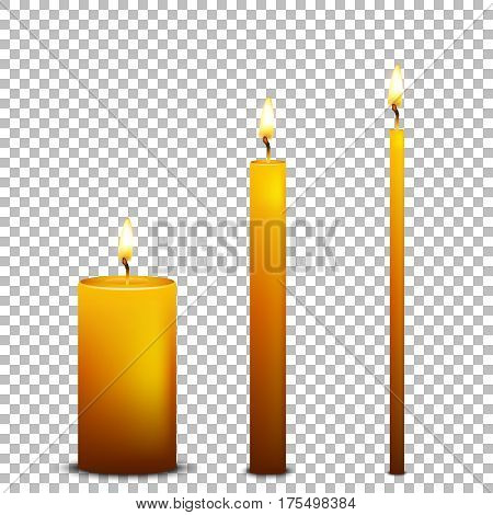 Vector realistic candle icon set isolated on transparent background. Design templates. EPS10 illustration.