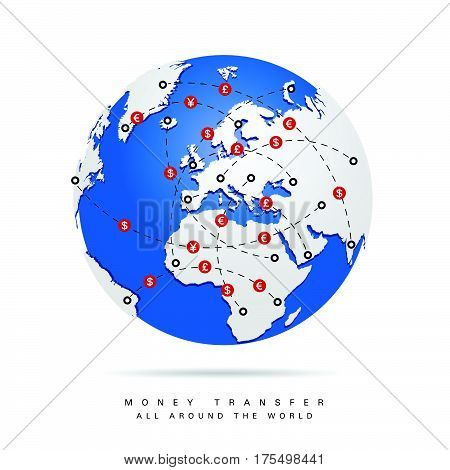 Money Transfer All Around The World In Color Illustration