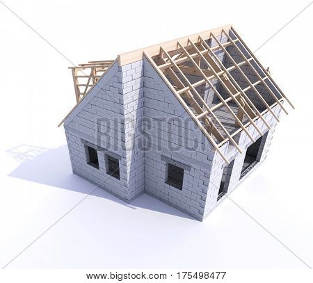 House under construction showing roof beams and unfinished walls 3D rendering