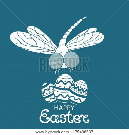 Happy easter. Paschal Eggs and dragonfly. Design of greeting cards, invitations, flyers