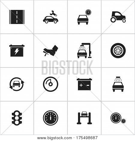 Set Of 16 Editable Car Icons. Includes Symbols Such As Automobile, Speed Control, Treadle And More. Can Be Used For Web, Mobile, UI And Infographic Design.
