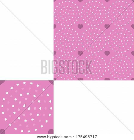 Seamless patterns from white and pink hearts on the pink background with pattern unit.