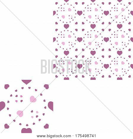 Seamless patterns from dark pink hearts on the white background with pattern unit.