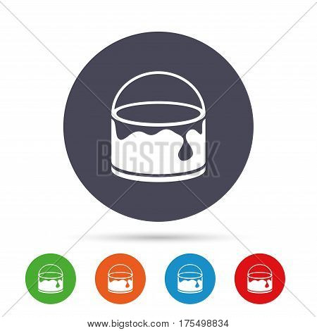 Bucket of paint icon. Painting works sign. Painter equipment. Round colourful buttons with flat icons. Vector