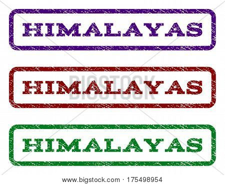 Himalayas watermark stamp. Text tag inside rounded rectangle with grunge design style. Vector variants are indigo blue, red, green ink colors. Rubber seal stamp with unclean texture.