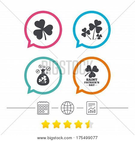 Saint Patrick day icons. Money bag with clover and coins sign. Trefoil shamrock clover. Symbol of good luck. Calendar, internet globe and report linear icons. Star vote ranking. Vector