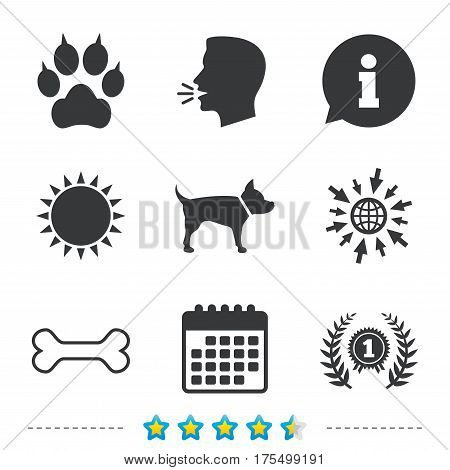Pets icons. Cat paw with clutches sign. Winner laurel wreath and medal symbol. Pets food. Information, go to web and calendar icons. Sun and loud speak symbol. Vector