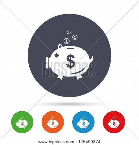 Piggy bank sign icon. Moneybox dollar symbol. Round colourful buttons with flat icons. Vector
