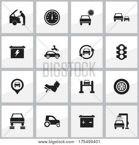 Set Of 16 Editable Car Icons. Includes Symbols Such As Automotive Fix, Treadle, Accumulator And More. Can Be Used For Web, Mobile, UI And Infographic Design.