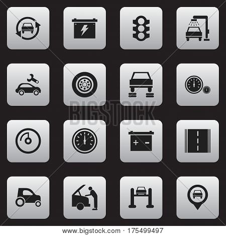 Set Of 16 Editable Car Icons. Includes Symbols Such As Stoplight, Battery, Vehicle Car And More. Can Be Used For Web, Mobile, UI And Infographic Design.