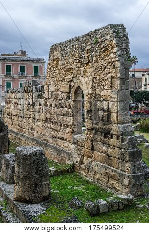 Ancient Temple of Apollo on the Ortygia - old town of Syracuse on Sicily island Italy