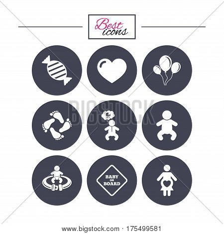 Pregnancy, maternity and baby care icons. Candy, strollers and fasten seat belt signs. Footprint, love and balloon symbols. Classic simple flat icons. Vector