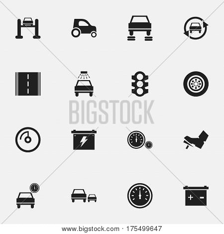 Set Of 16 Editable Vehicle Icons. Includes Symbols Such As Treadle, Auto Repair, Automobile And More. Can Be Used For Web, Mobile, UI And Infographic Design.