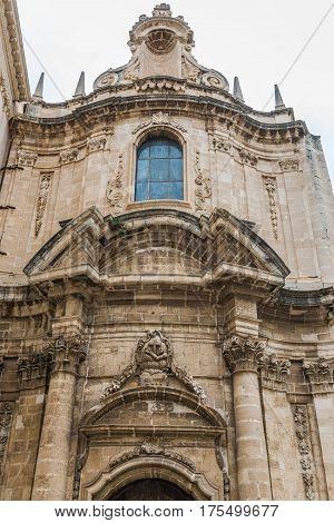 Old church deticated to Immaculate Conception on the Ortygia isle - old town of Syracuse on Sicily island Italy