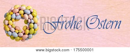 Easter egg chaplet with easter greeting in german language on bright background