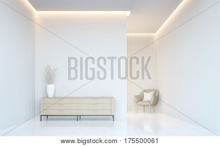 Empty white room modern space interior 3d rendering image.A blank wall with pure white. Decorate wall with virtical line pattern and hidden warm light poster