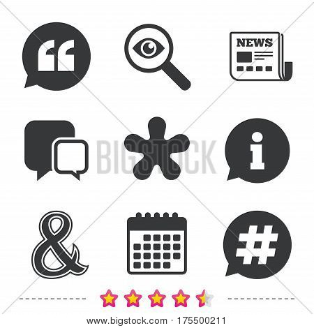 Quote, asterisk footnote icons. Hashtag social media and ampersand symbols. Programming logical operator AND sign. Speech bubble. Newspaper, information and calendar icons. Vector