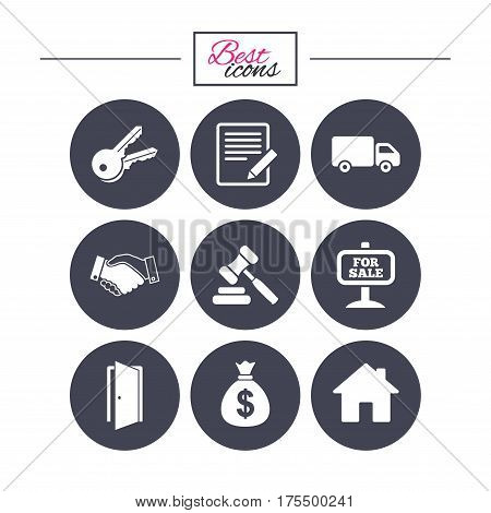 Real estate, auction icons. Handshake, for sale and money bag signs. Keys, delivery truck and door symbols. Classic simple flat icons. Vector