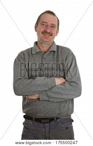 Casual man standing isolate white Background. Shot in Studio.