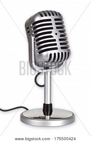 Retro Microphone isolated on white background_This is no SHURE Microphone