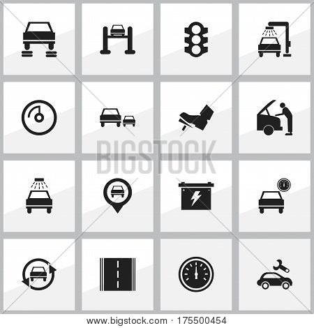 Set Of 16 Editable Transport Icons. Includes Symbols Such As Treadle, Auto Repair, Pointer And More. Can Be Used For Web, Mobile, UI And Infographic Design.