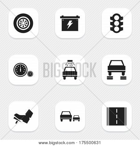 Set Of 9 Editable Vehicle Icons. Includes Symbols Such As Tire, Speedometer, Stoplight And More. Can Be Used For Web, Mobile, UI And Infographic Design.