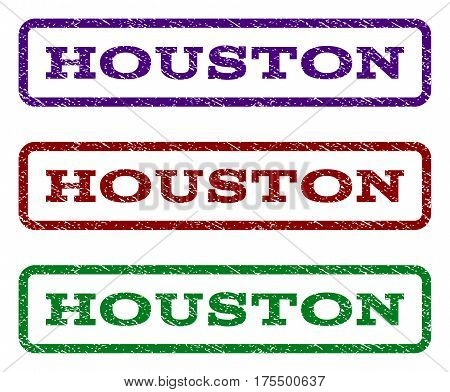 Houston watermark stamp. Text caption inside rounded rectangle frame with grunge design style. Vector variants are indigo blue, red, green ink colors. Rubber seal stamp with dust texture.