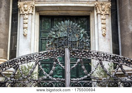 Details of Catania Cathedral in Catania on the island of Sicily Italy