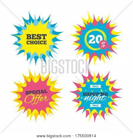 Shopping offers, special offer banners. Best choice sign icon. Special offer symbol. Discount star label. Vector