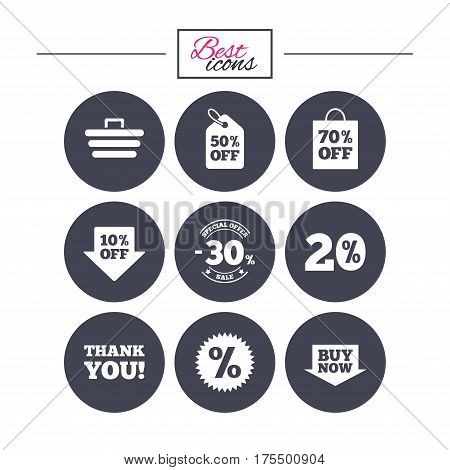 Sale discounts icon. Shopping cart, coupon and buy now signs. 20, 30 and 50 percent off. Special offer symbols. Classic simple flat icons. Vector
