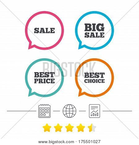 Sale icons. Best choice and price symbols. Big sale shopping sign. Calendar, internet globe and report linear icons. Star vote ranking. Vector