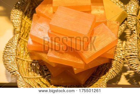 Collection Of Bars Of Hand Made Organic Soap  In A Basket