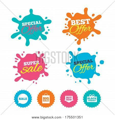 Best offer and sale splash banners. Sale speech bubble icons. Buy now arrow symbols. Black friday gift box signs. Big sale shopping bag. Web shopping labels. Vector