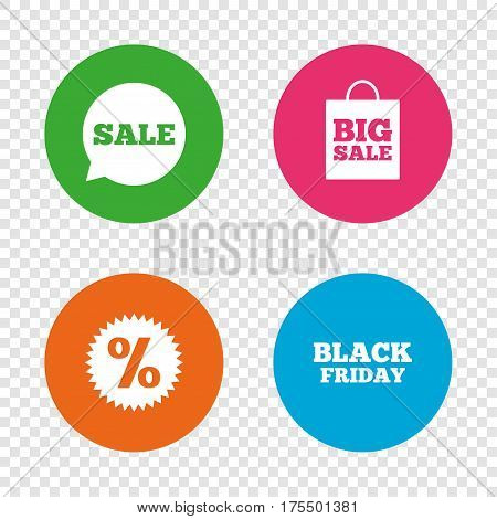 Sale speech bubble icon. Discount star symbol. Black friday sign. Big sale shopping bag. Round buttons on transparent background. Vector