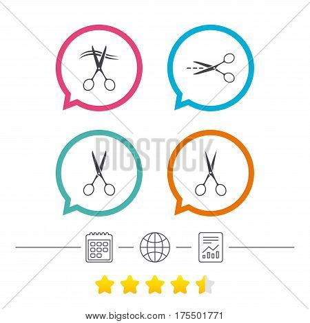 Scissors icons. Hairdresser or barbershop symbol. Scissors cut hair. Cut dash dotted line. Tailor symbol. Calendar, internet globe and report linear icons. Star vote ranking. Vector