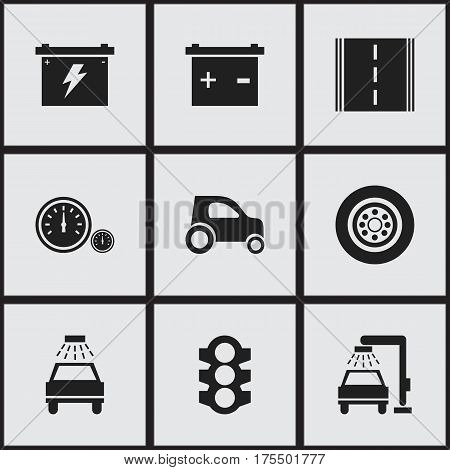 Set Of 9 Editable Car Icons. Includes Symbols Such As Stoplight, Car Lave, Tire And More. Can Be Used For Web, Mobile, UI And Infographic Design.
