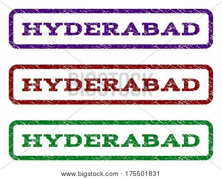 Hyderabad watermark stamp. Text caption inside rounded rectangle frame with grunge design style. Vector variants are indigo blue, red, green ink colors. Rubber seal stamp with unclean texture.