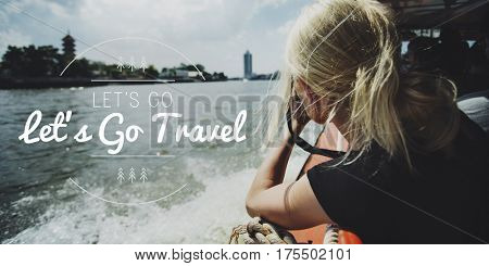 Let's Go Explore Travel Words Graphic