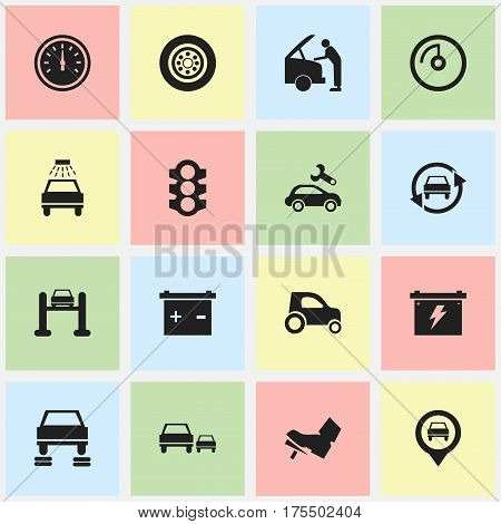 Set Of 16 Editable Car Icons. Includes Symbols Such As Automotive Fix, Pointer, Car Lave And More. Can Be Used For Web, Mobile, UI And Infographic Design.