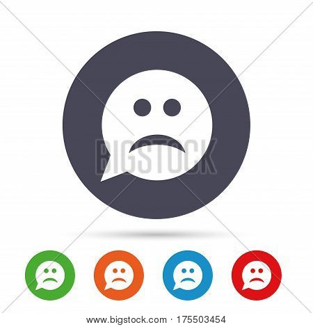 Sad face sign icon. Sadness depression chat symbol. Speech bubble. Round colourful buttons with flat icons. Vector