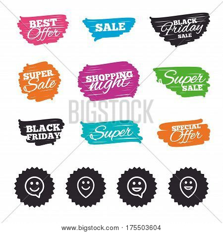 Ink brush sale banners and stripes. Happy face speech bubble icons. Smile sign. Map pointer symbols. Special offer. Ink stroke. Vector