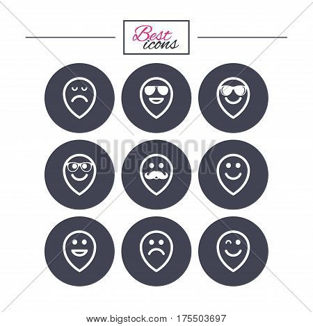 Smile pointers icons. Happy, sad and wink faces signs. Sunglasses, mustache and laughing lol smiley symbols. Classic simple flat icons. Vector
