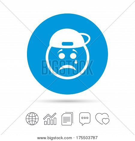Sad rapper face with tear sign icon. Crying chat symbol. Copy files, chat speech bubble and chart web icons. Vector